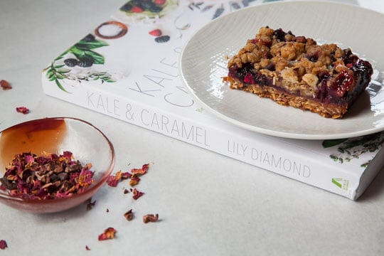 Rhubarb & Blueberry Oatmeal Bars with Cacao Nibs and Rose Petals. Recipe and photo by Irvin Lin of Eat the Love.