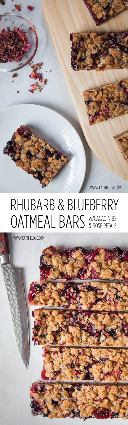 Easy to Make Rhubarb & Blueberry Oatmeal Bars with Cacao Nibs and Rose Petals. Recipe and photo by Irvin Lin of Eat the Love.