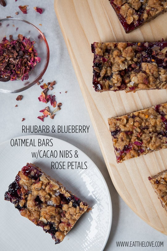 Rhubarb & Blueberry Bars w/Cacao Nibs and Dried Rose Petals. Photo and recipe by Irvin Lin of Eat the Love