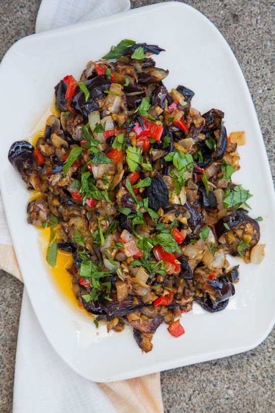 Twice Cooked Eggplant with Olives.