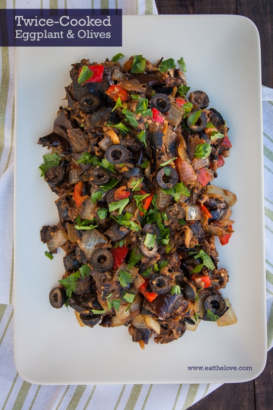 Twice Cooked Eggplant and Olives. Photo and recipe by Irvin Lin of Eat the Love.