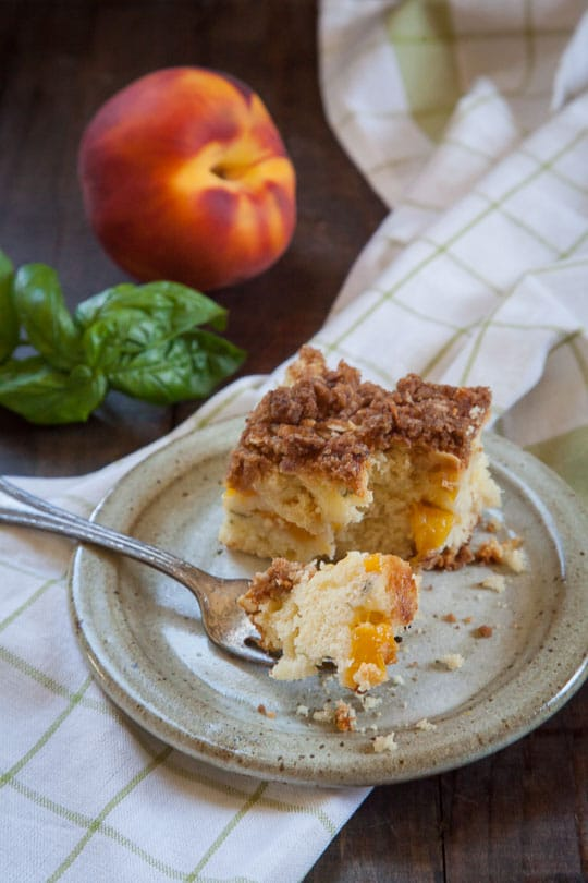 Peach, Basil and Olive Oil Coffee Cake. Photo and recipe by Irvin Lin of Eat the Love.