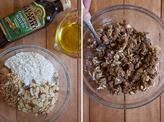 Make the crumb topping by tossing the dry ingredients together with the olive oil until they clump up.