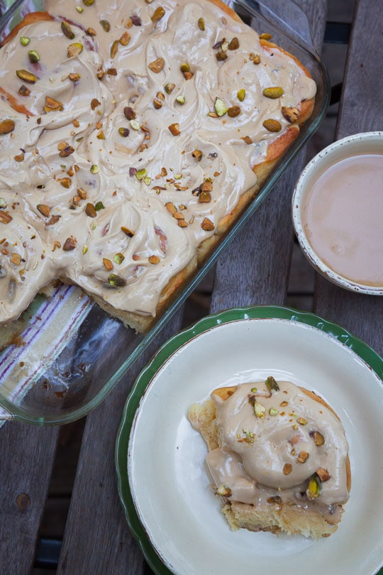 Rosemary Pistachio Cinnamon Rolls with Brown Sugar Cream Cheese Glaze. Photo and recipe by Irvin Lin of Eat the Love.