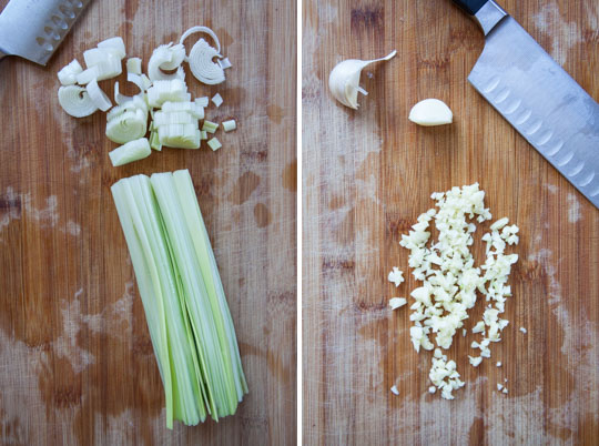 chop leeks and garlic.