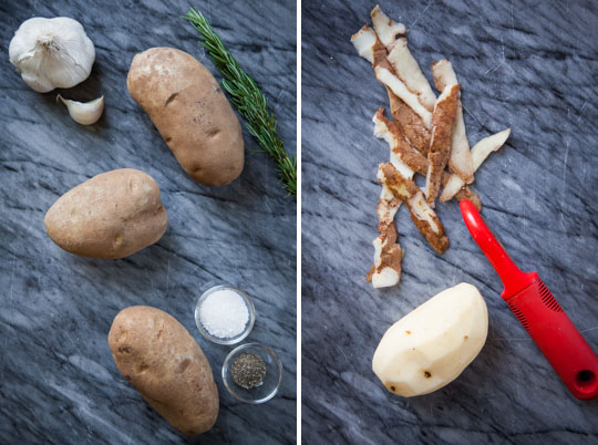 peel the potatoes.