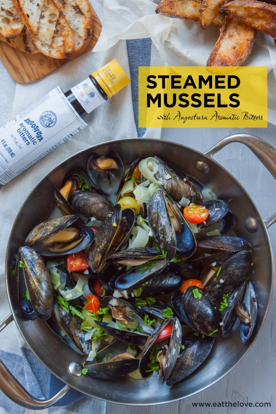 Steamed Mussels with Angostura Bitters. Photo and recipe by Irvin Lin of Eat the Love.