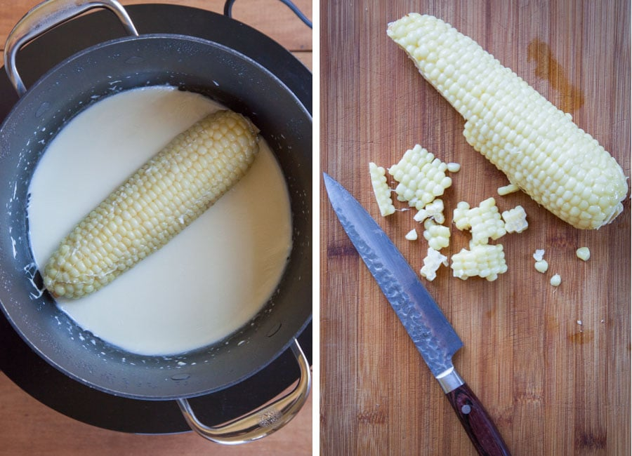 cook the corn in the half and half and then cut the kernels off.