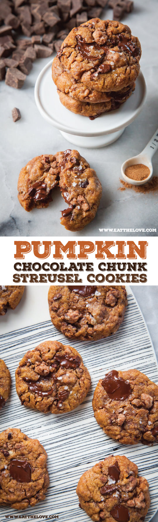 Pumpkin Chocolate Chip Cookies with Pumpkin Spice Streusel! Recipe by Irvin Lin of Eat the Love.