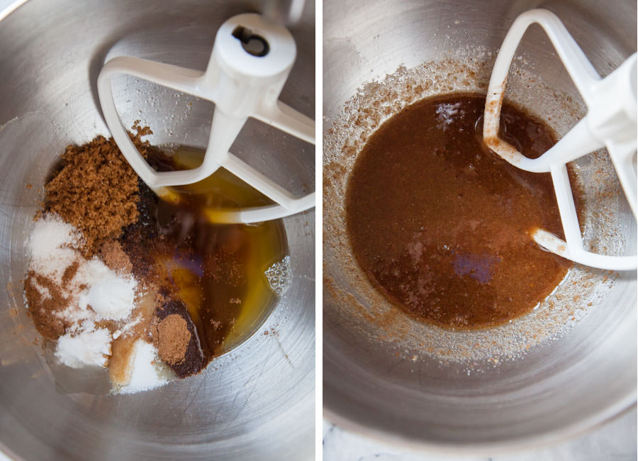Add the sugar and spices to the brown butter.