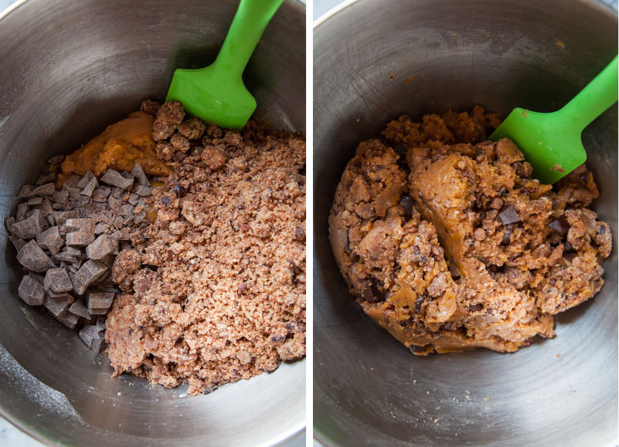 Hand mix in the chocolate and streusel