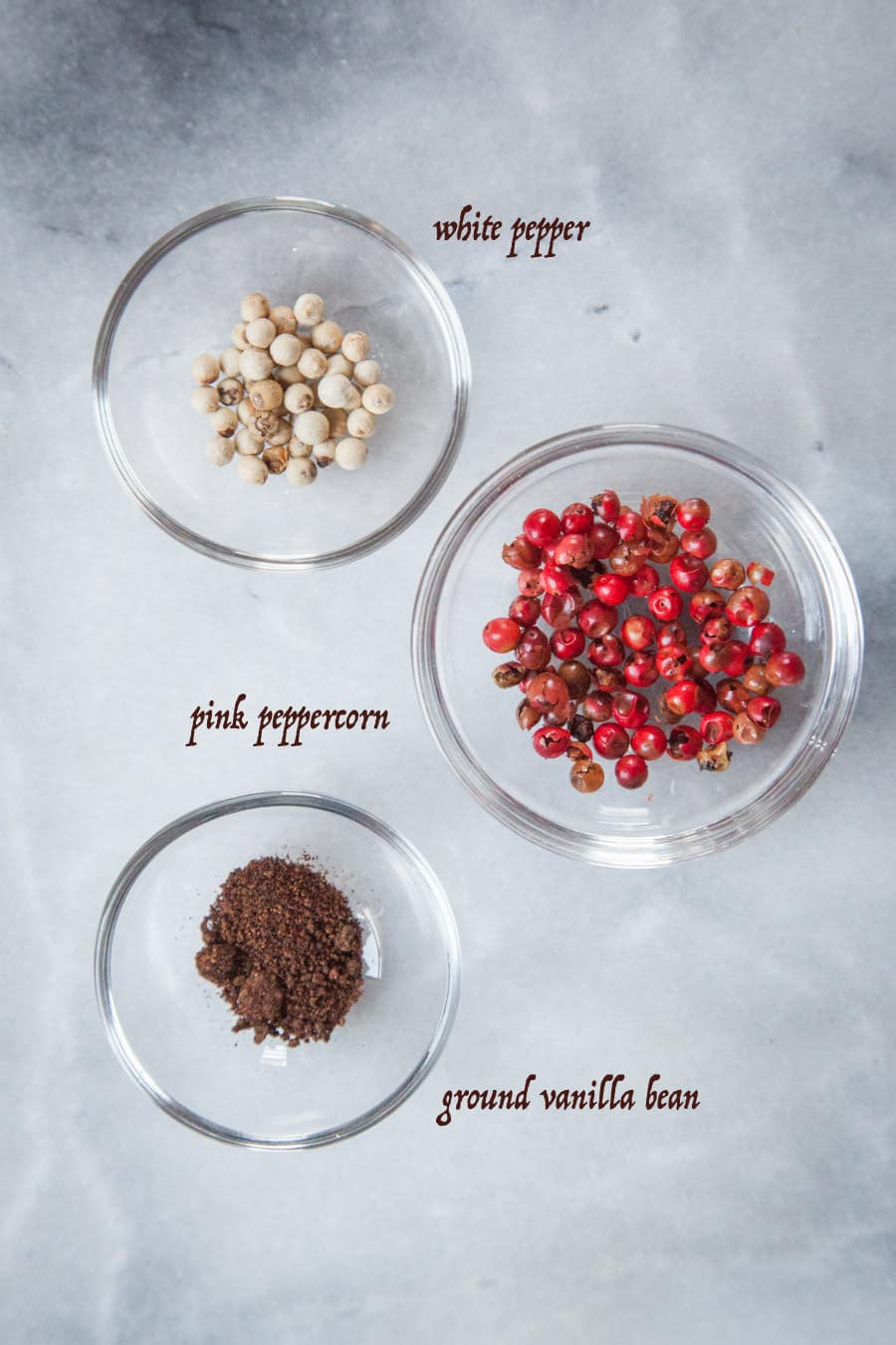 white pepper, pink peppercorn and ground vanilla bean