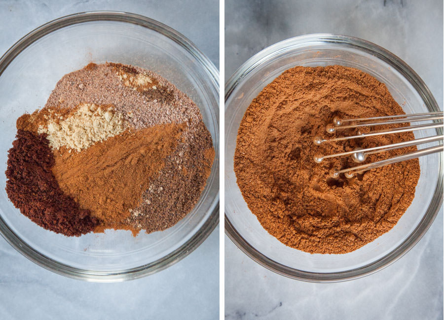 place spices in a bowl and whisk together.