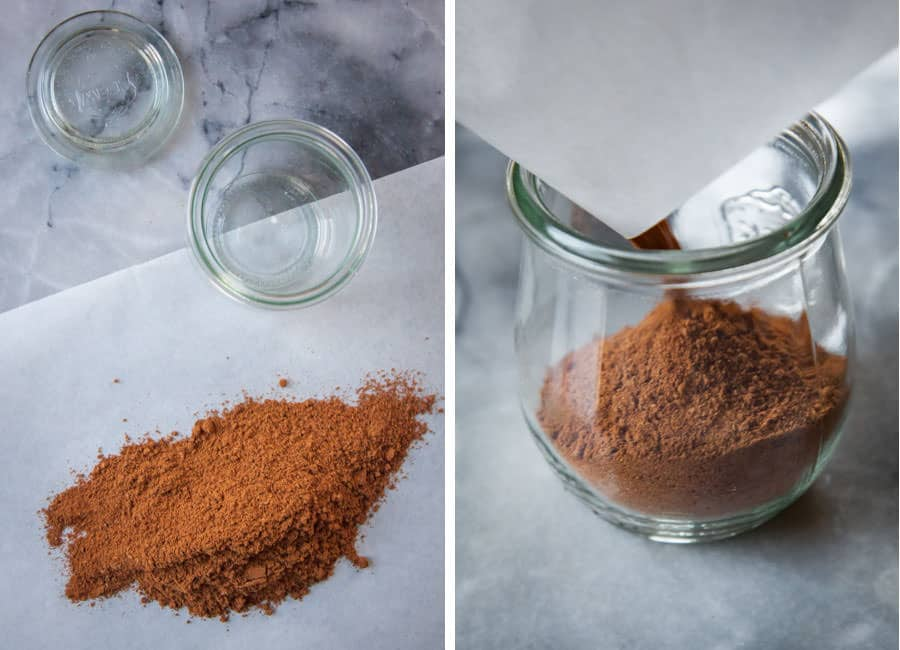 "pour spices onto a piece of parchment or wax paper and then ""funnel"" into jar."