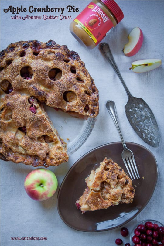Apple Cranberry Pie with Almond Butter Crust. Photo and recipe by Irvin Lin of Eat the Love.