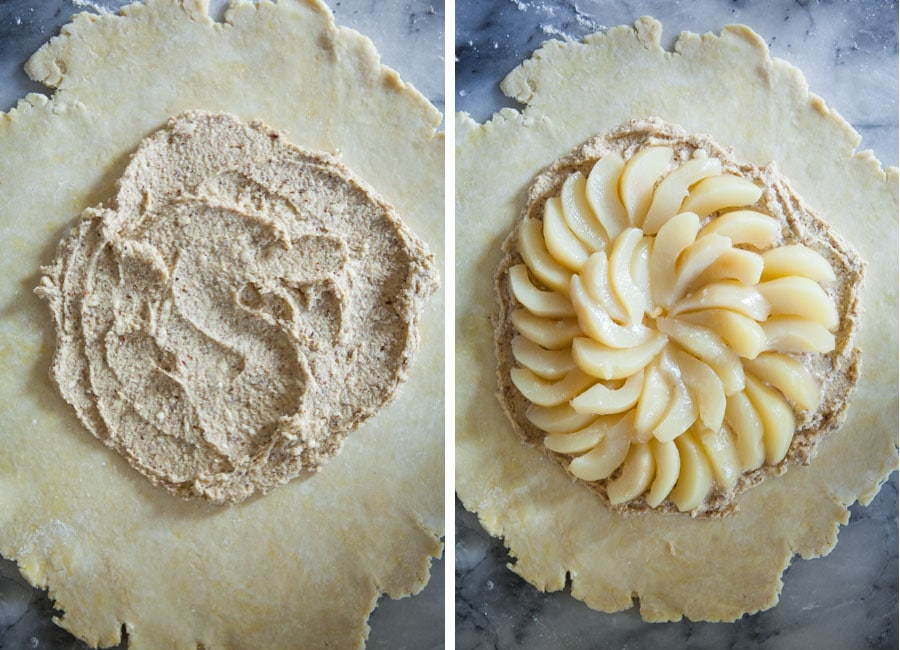 Spread the frangipane in the center of dough. Add the pears.