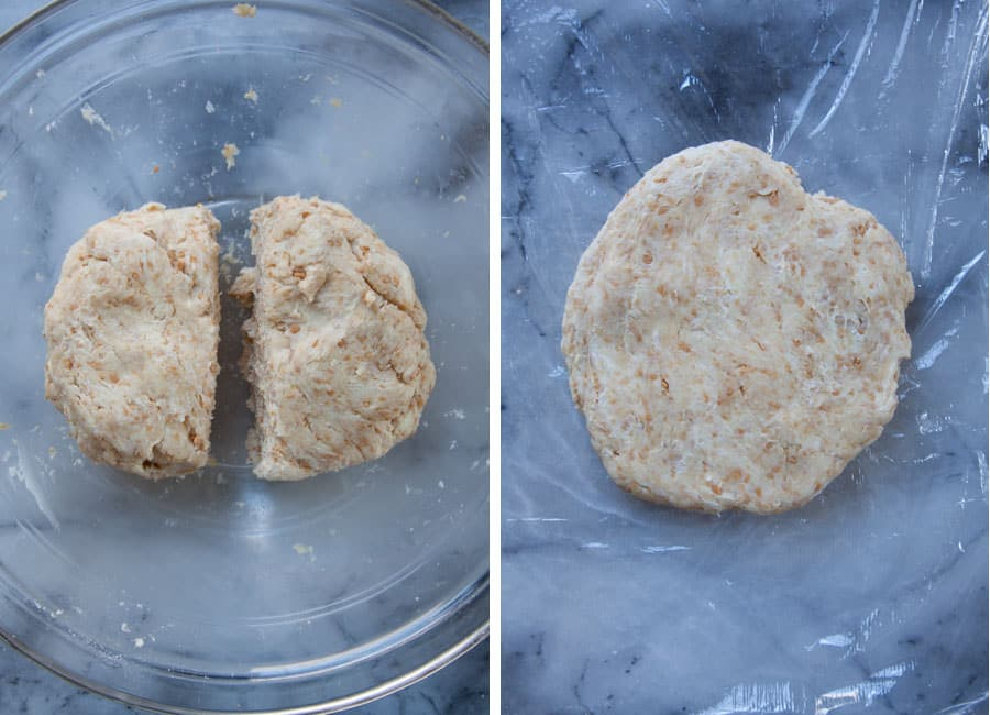 Split the dough in half, then flatten each into a 1-inch thick disk and wrap with plastic wrap.