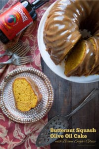 Butternut Squash Olive Oil Cake with Brown Sugar Glaze.