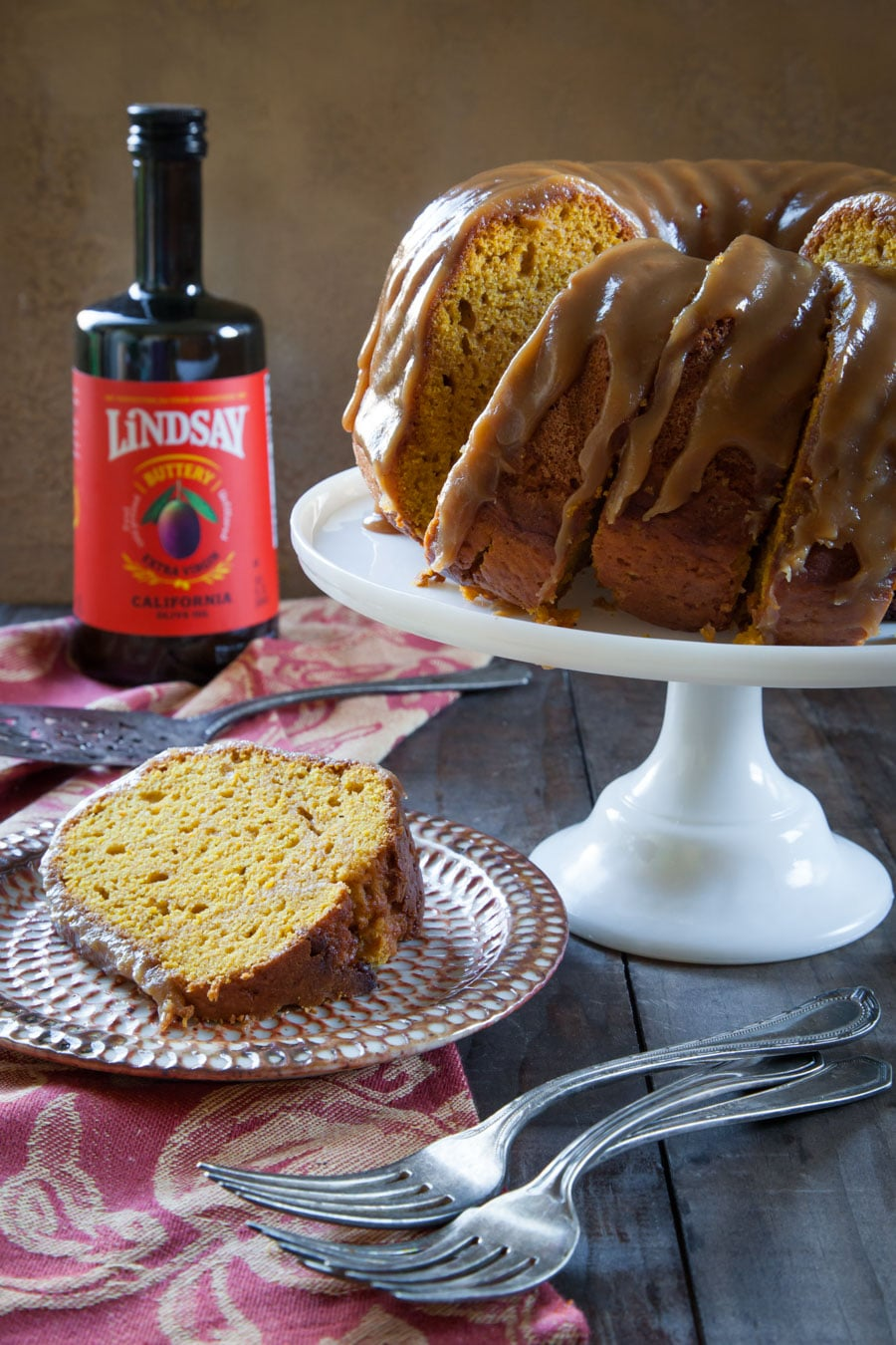 Butternut Squash Olive Oil Cake with Brown Sugar Glaze.