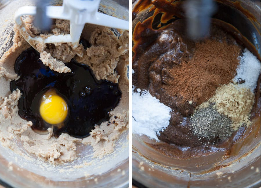 Mix in the egg and molasses, then the spices, salt and baking soda