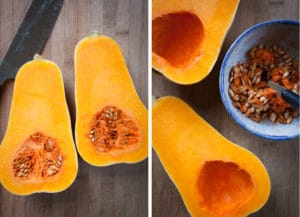 Cut the butternut in half and scoop out the seeds
