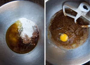 Place the sugar, oil, spices, baking powder, baking soda and salt in the pan and mix. Add the eggs, one at a time.
