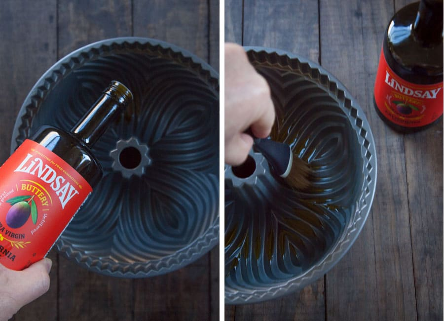 Drizzle some olive oil in the bundt pan and then brush the pan to coat.
