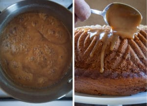 Make the glaze by simmering all the ingredients for 15 minutes. Let cool for 10 minutes then spoon over the cake.
