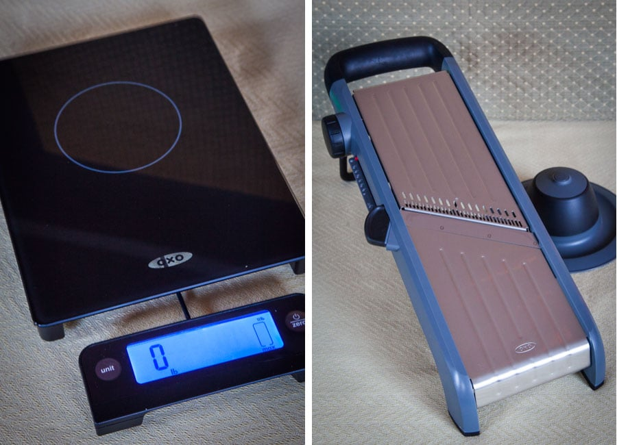 OXO kitchen scale and mandoline