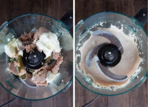 place tuna, mayonaise and olive oil in food processor and process until smooth.