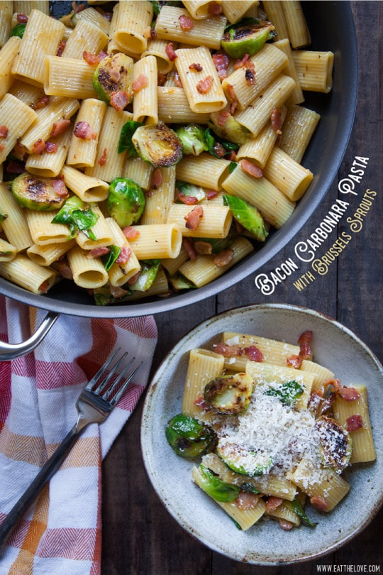 Bacon Carbonara Pasta with Brussels Sprout [Sponsored Post]