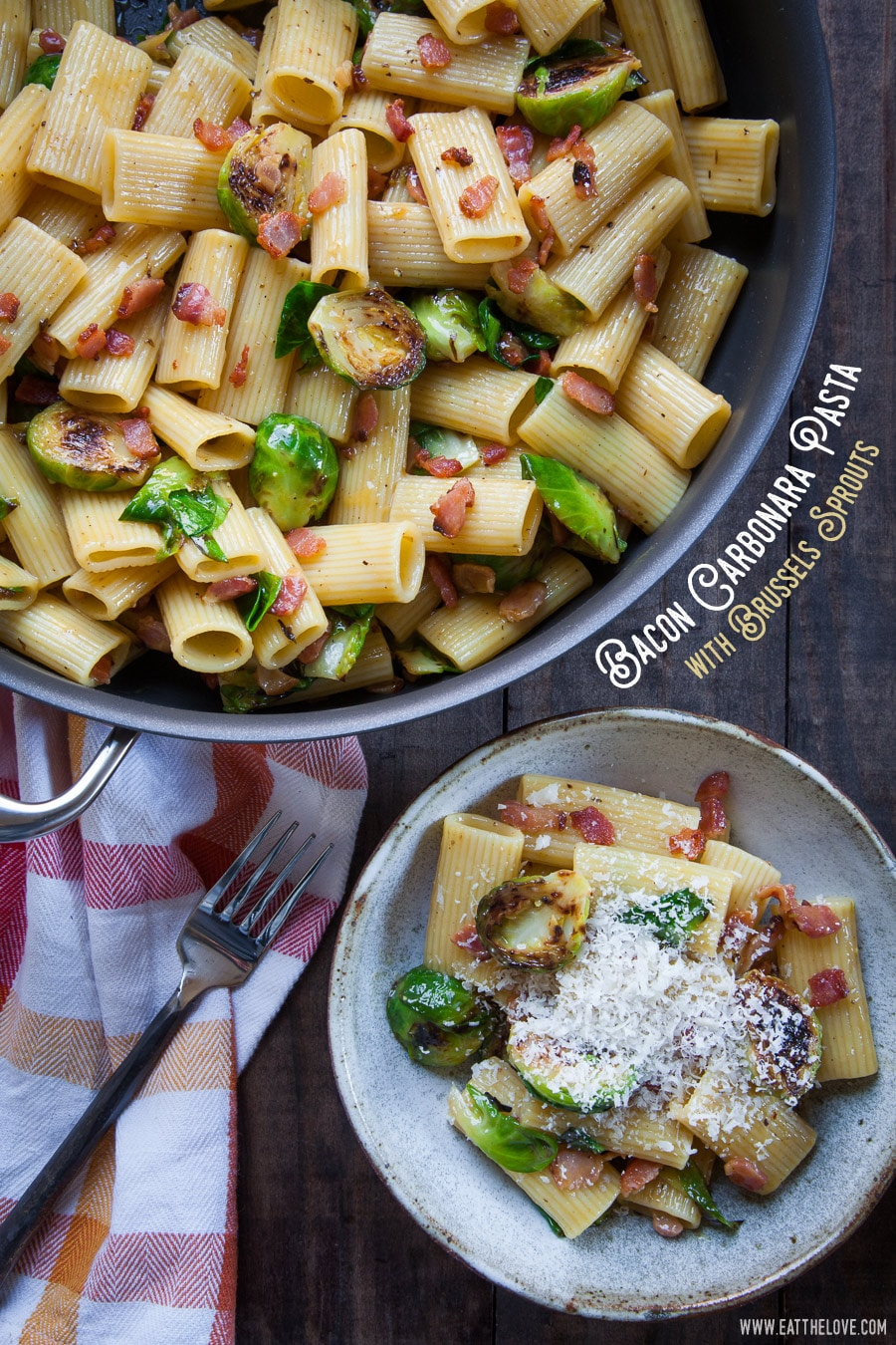 Bacon Carbonara Pasta with Brussels Sprouts. Photo and recipe by Irvin Lin