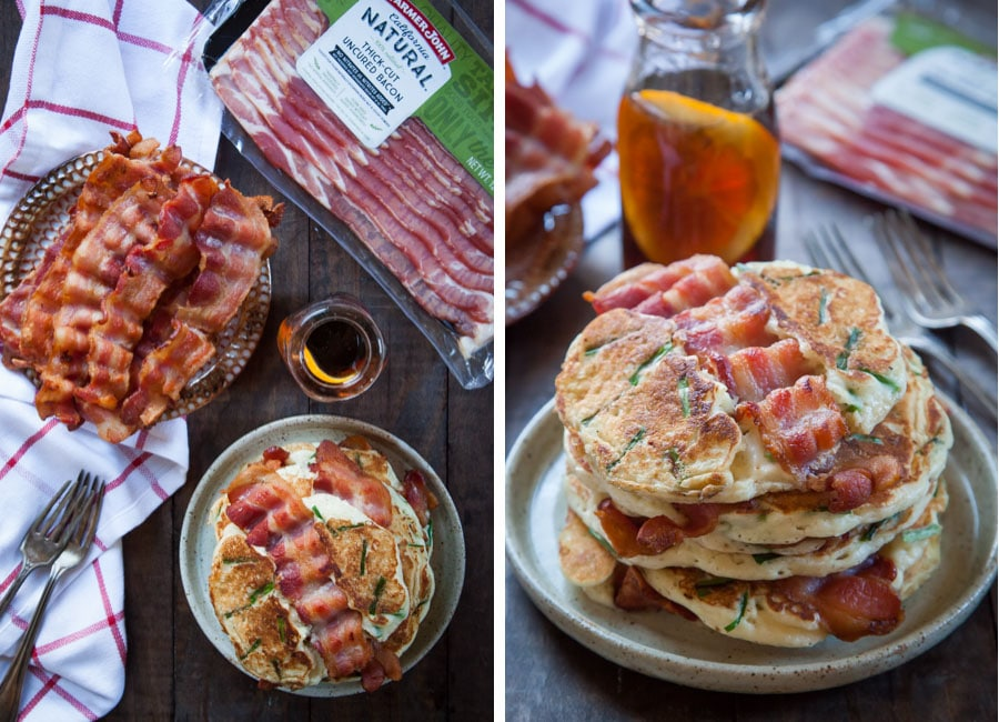 Bacon and Chives pancakes with Farmer John All-Natural Bacon. Photo and recipe by Irvin Lin of Eat the Love.