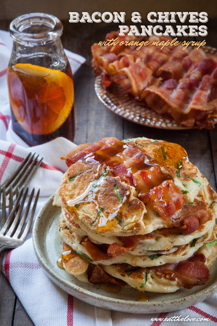 Bacon Pancakes with Chives and Orange Maple Syrup. Photos and recipe by Irvin Lin of Eat the Love.