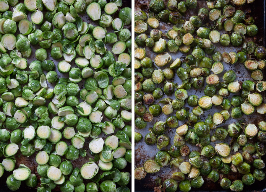 Spread brussels in a rimmed baking sheet and roast until tender and caramelized