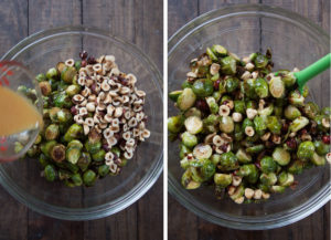 Make glaze and toss Brussels sprouts and hazelnuts together with glaze.