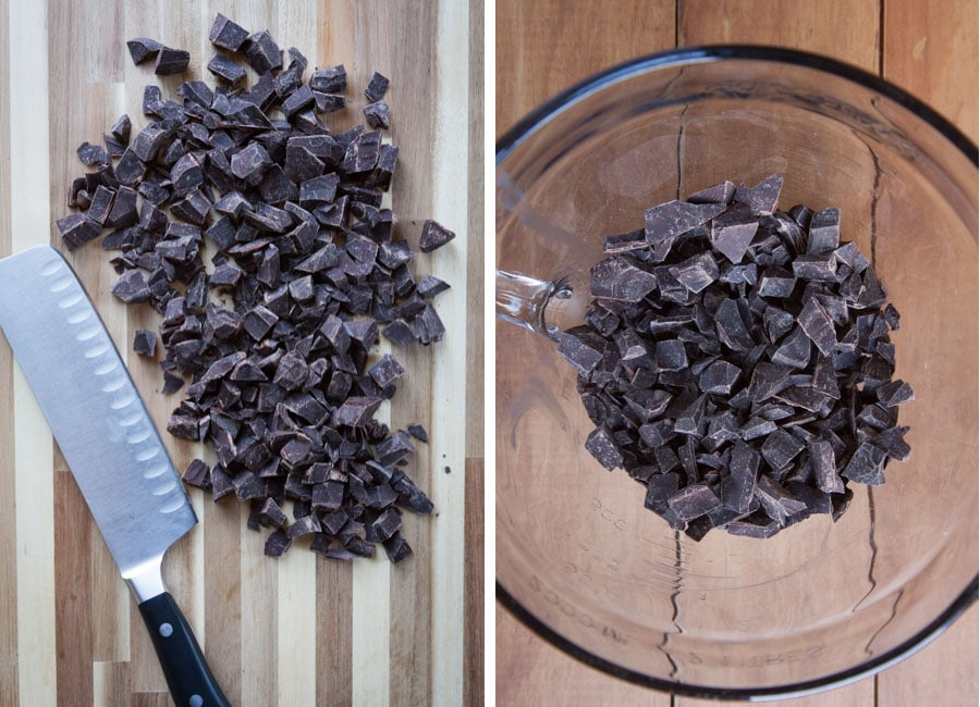 Chopped chocolate in a bowl