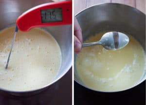 Heat custard to 175°F or until it holds a line on the back of a spoon.