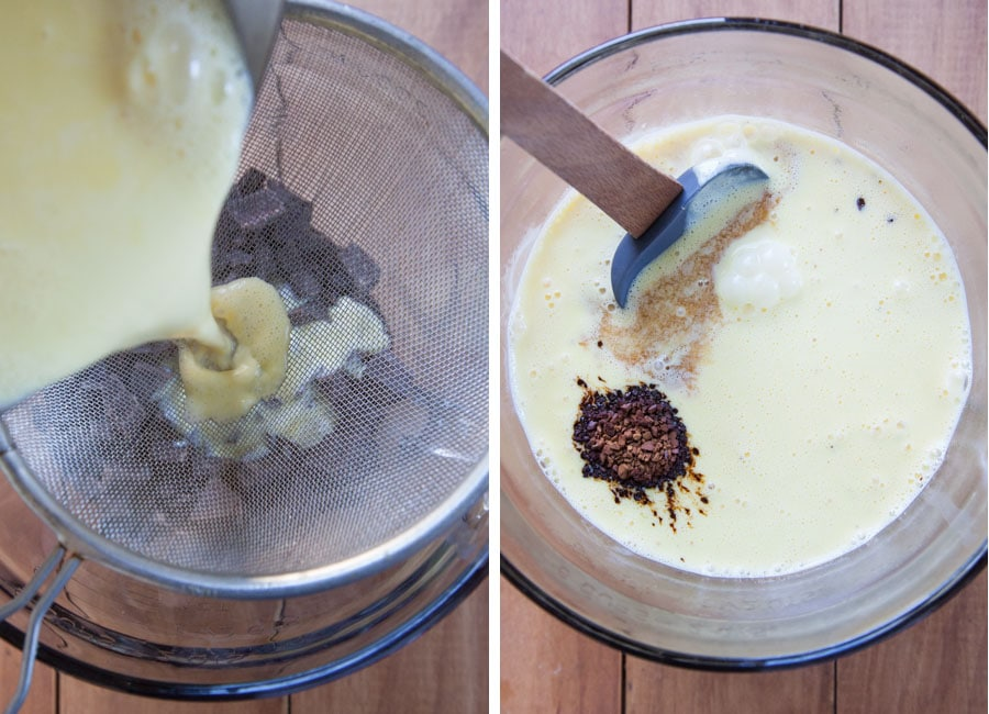 Pour custard through a sieve and then stir in the instant coffee and vanilla extract.