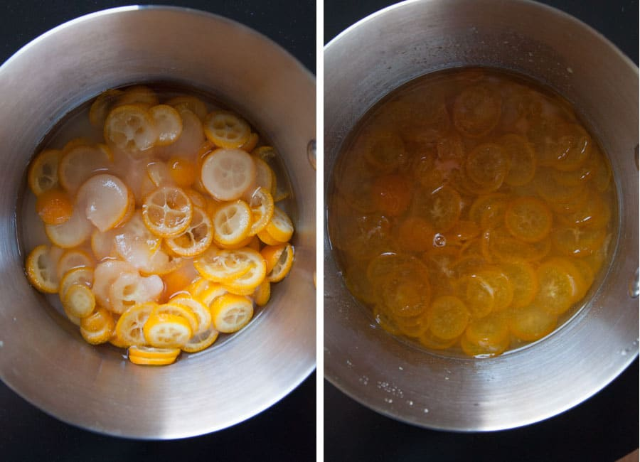 Simmer sliced kumquats for 30 minutes in the sugar water.