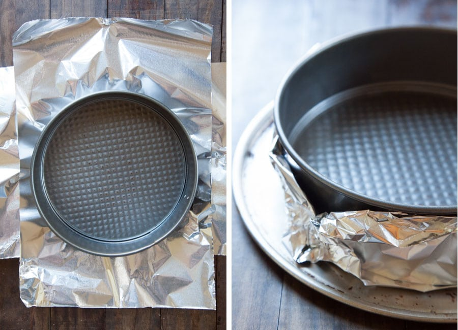 Wrap the bottom of the springform pan in aluminum foil.