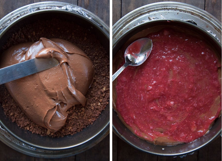 Spread half the cheesecake batter in the crust, then half the strawberry sauce over it.