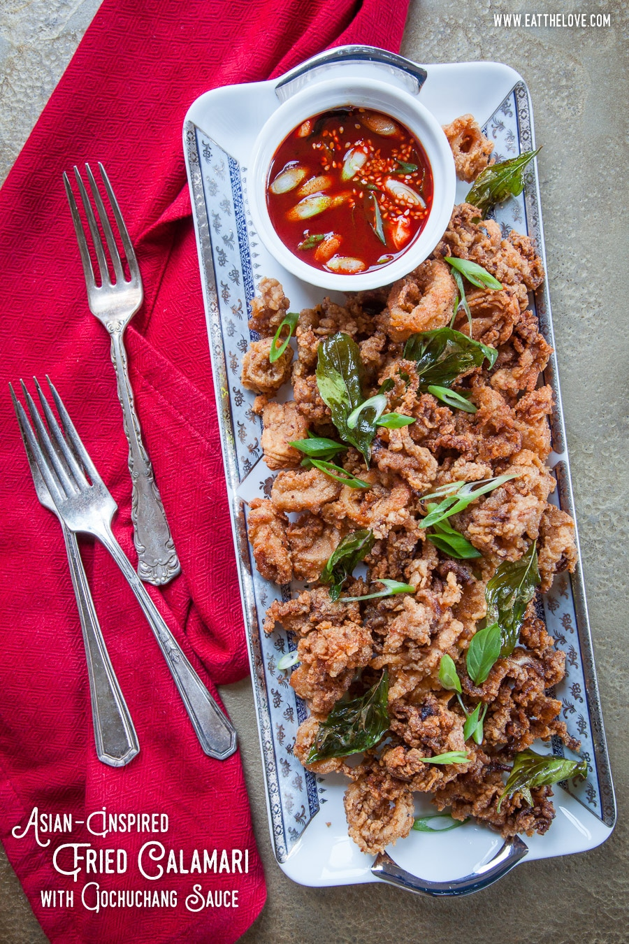 Asian-Inspired Fried Calamari with Gochuchang Dipping Sauce. Photo and recipe by Irvin Lin of Eat the Love.