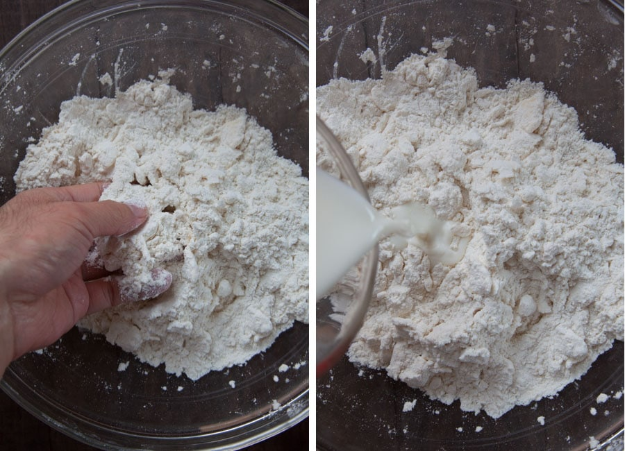 Smash the butter into the dry ingredients, then add the milk.