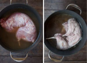 Braise the rabbit in chicken stock for 1 1/4 hours.