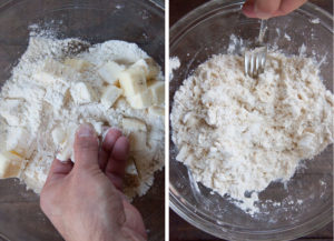 Make the pie crust by smashing the butter chunks together then drizzling water and tossing together until a dough forms.