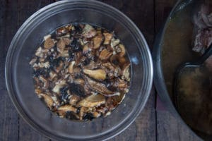 hydrate the dried mushrooms.