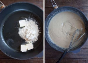 make a roux, then make the gravy with the chicken stock liquid.