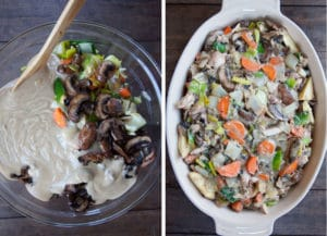 mix the gravy with the vegetables and rabbit. Pour into a baking dish.