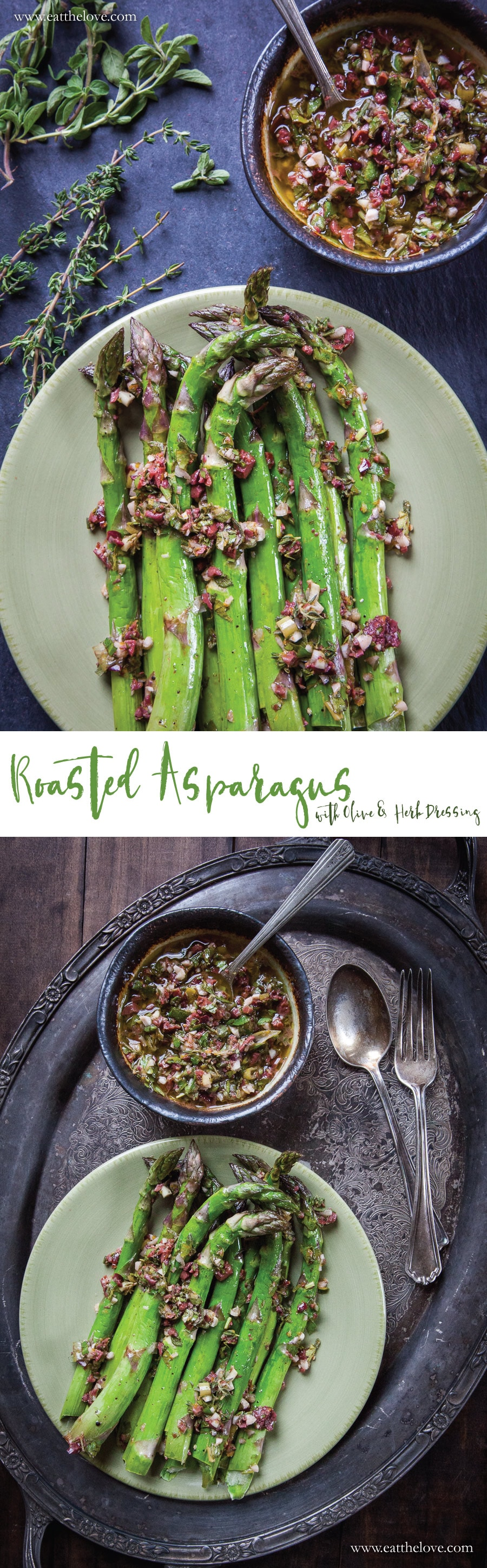 Roasted Asparagus with Olive and Herb Dressing. An easy and fast vegetable side dish that happens to be gluten free and vegan as well! Photo and recipe by Irvin Lin of Eat the Love.